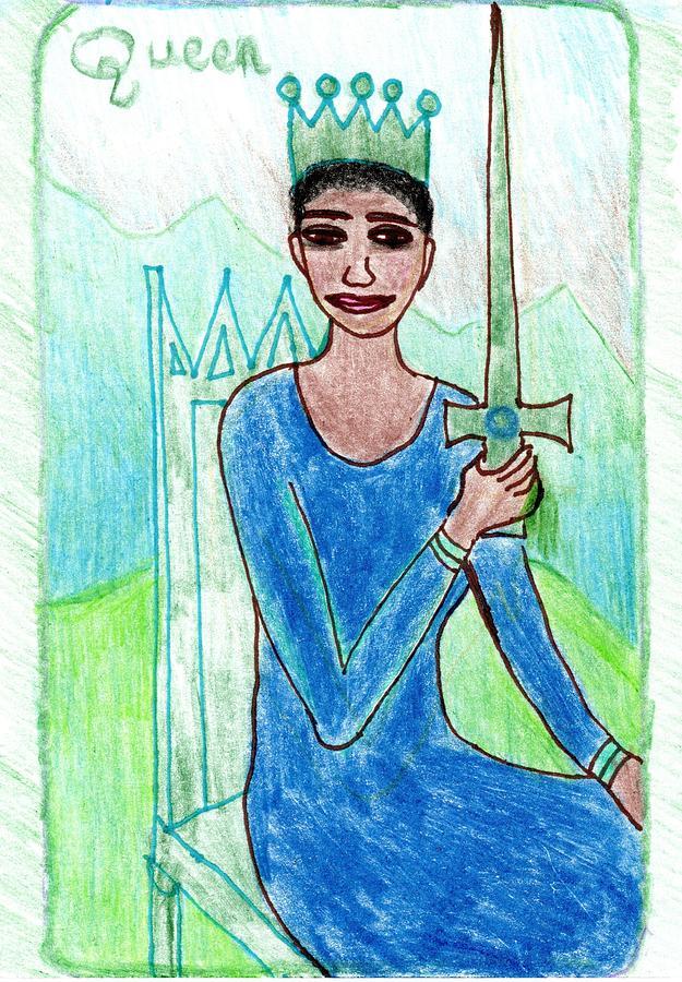 Tarot Drawing - The Glowing Tarot Swords 13 by Sushila Burgess