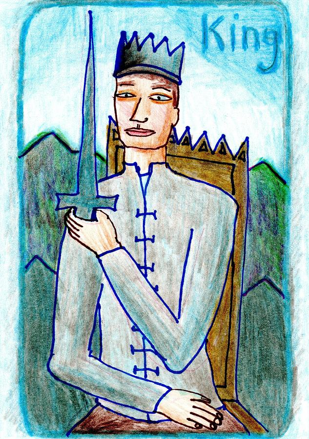 Tarot Drawing - The Glowing Tarot Swords 14 by Sushila Burgess