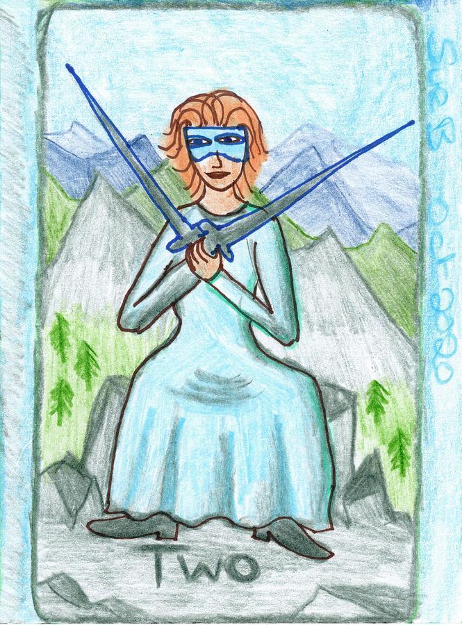 Tarot Drawing - The Glowing Tarot Swords 2 by Sushila Burgess
