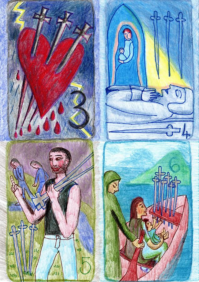 Tarot Drawing - The Glowing Tarot Swords 3 to 6 by Sushila Burgess