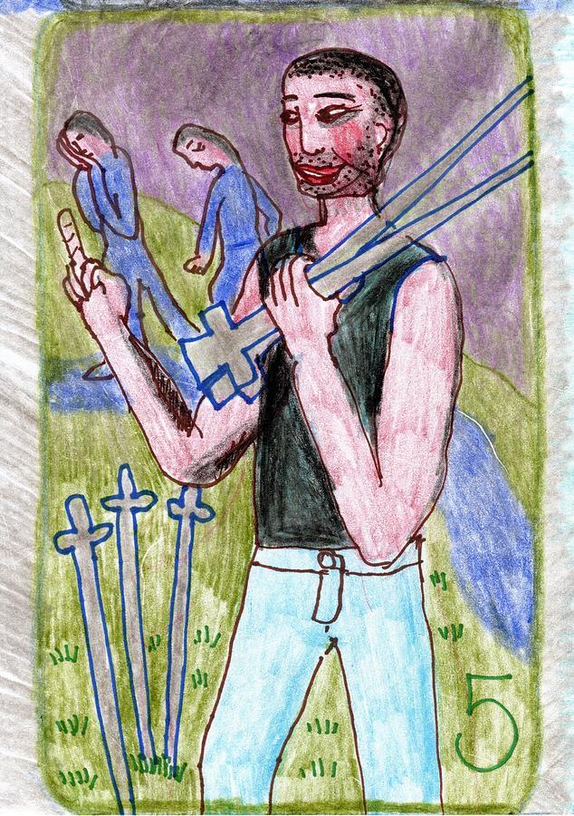 Tarot Drawing - The Glowing Tarot Swords 5 by Sushila Burgess