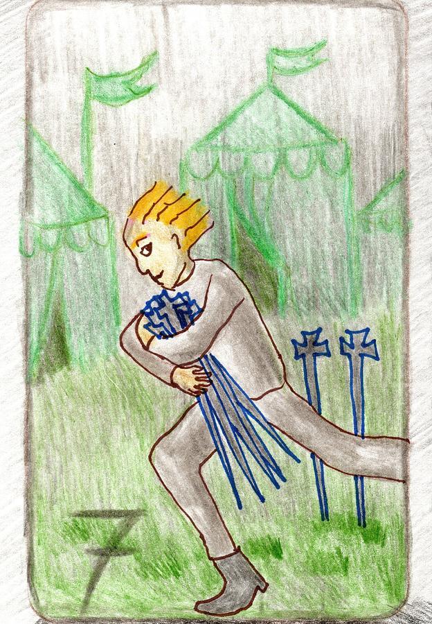 Tarot Drawing - The Glowing Tarot Swords 7 by Sushila Burgess