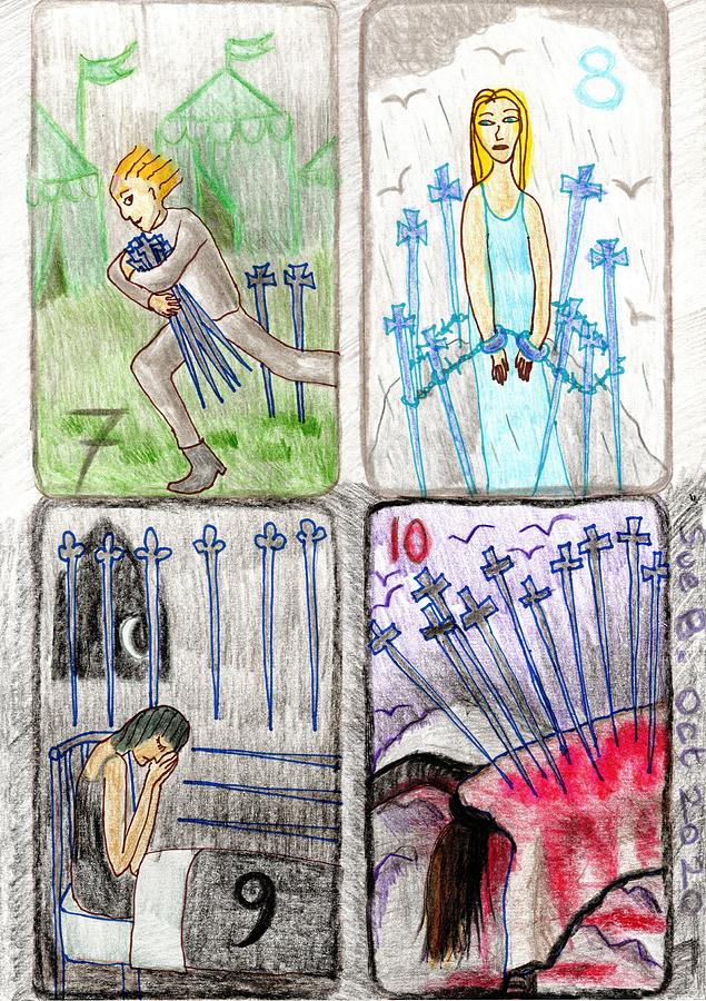 Tarot Drawing - The Glowing Tarot Swords 7 to 10 by Sushila Burgess