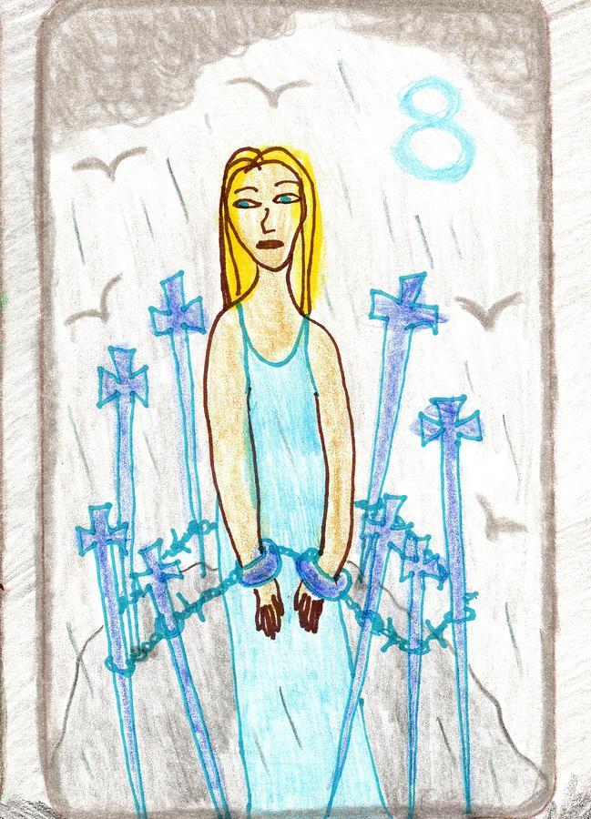 Tarot Drawing - The Glowing Tarot Swords 8 by Sushila Burgess