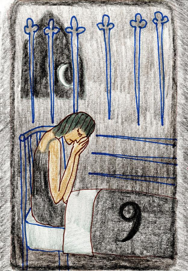 Tarot Drawing - The Glowing Tarot Swords 9 by Sushila Burgess