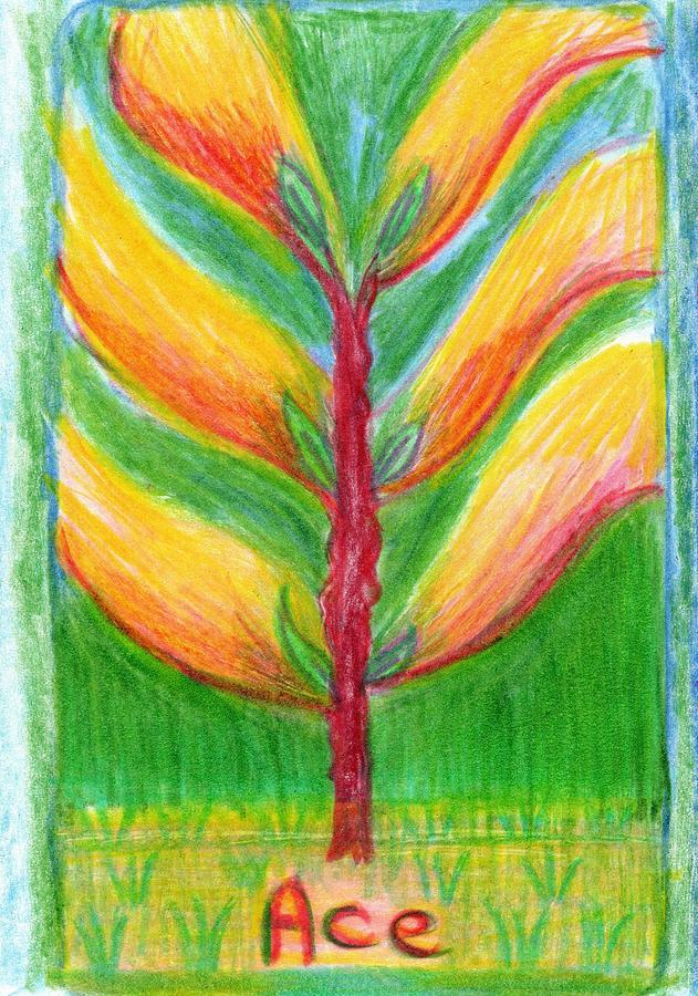 Tarot Drawing - The Glowing Tarot Wands 1 by Sushila Burgess
