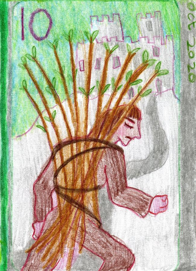 Tarot Drawing - The Glowing Tarot Wands 10 by Sushila Burgess