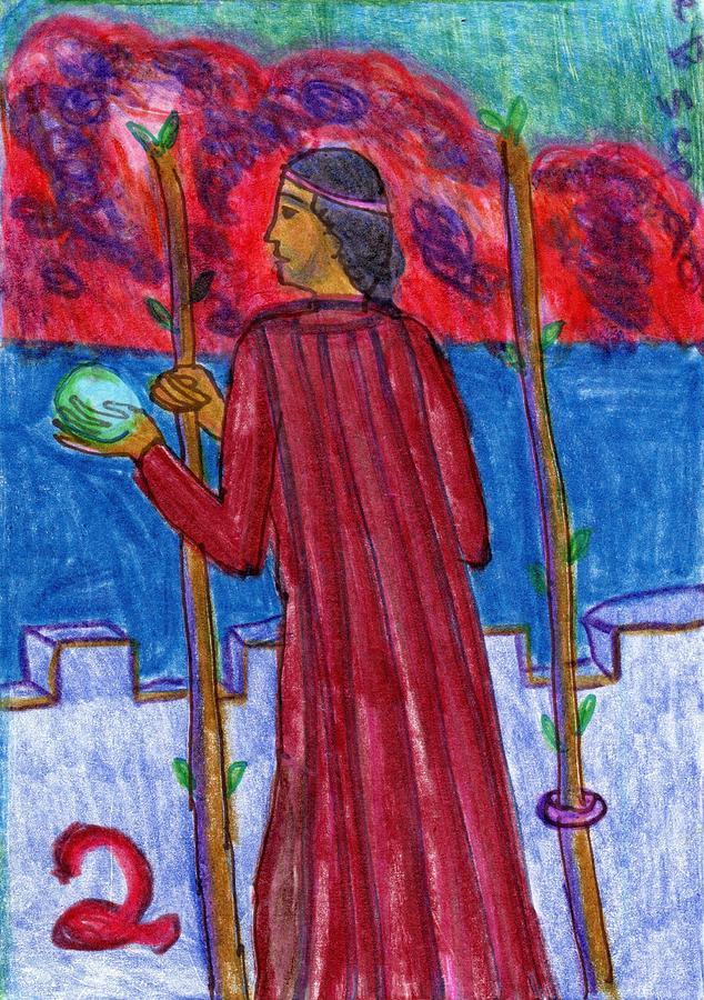 Tarot Drawing - The Glowing Tarot Wands 2 by Sushila Burgess