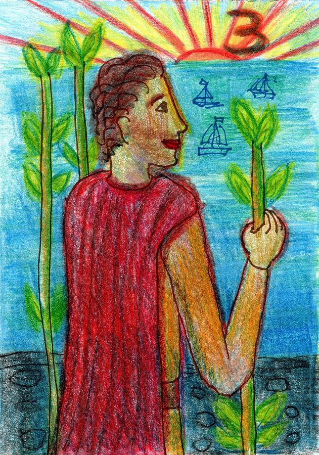 Tarot Drawing - The Glowing Tarot Wands 3 by Sushila Burgess
