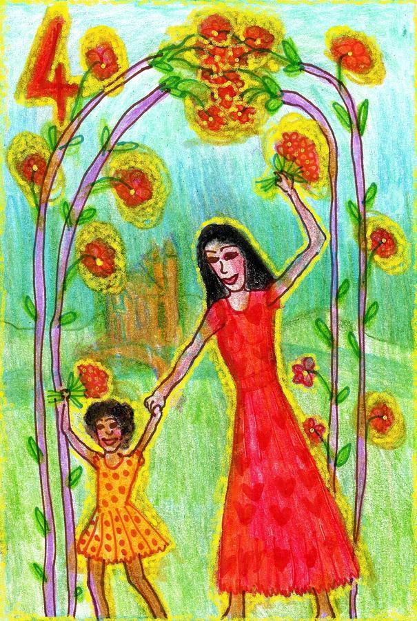 Tarot Drawing - The Glowing Tarot Wands 4 by Sushila Burgess