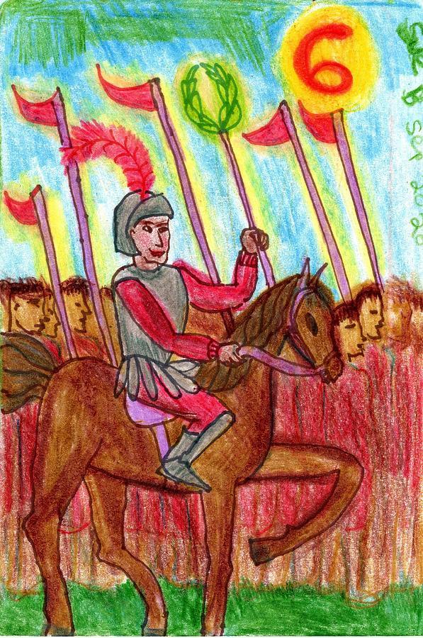 Tarot Drawing - The Glowing Tarot Wands 6 by Sushila Burgess