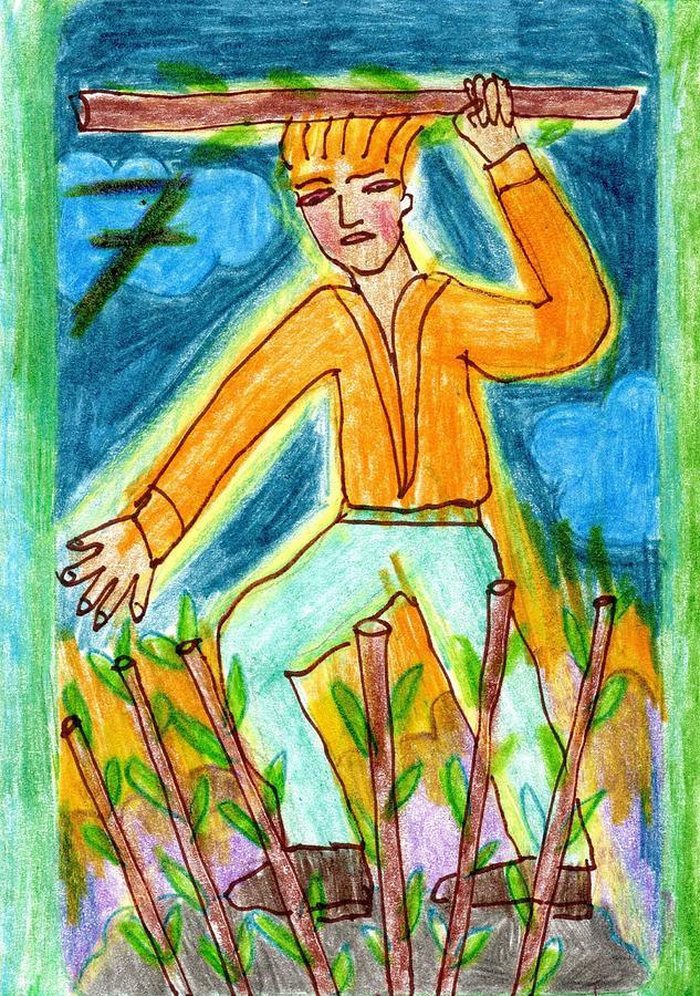 Tarot Drawing - The Glowing Tarot Wands 7 by Sushila Burgess