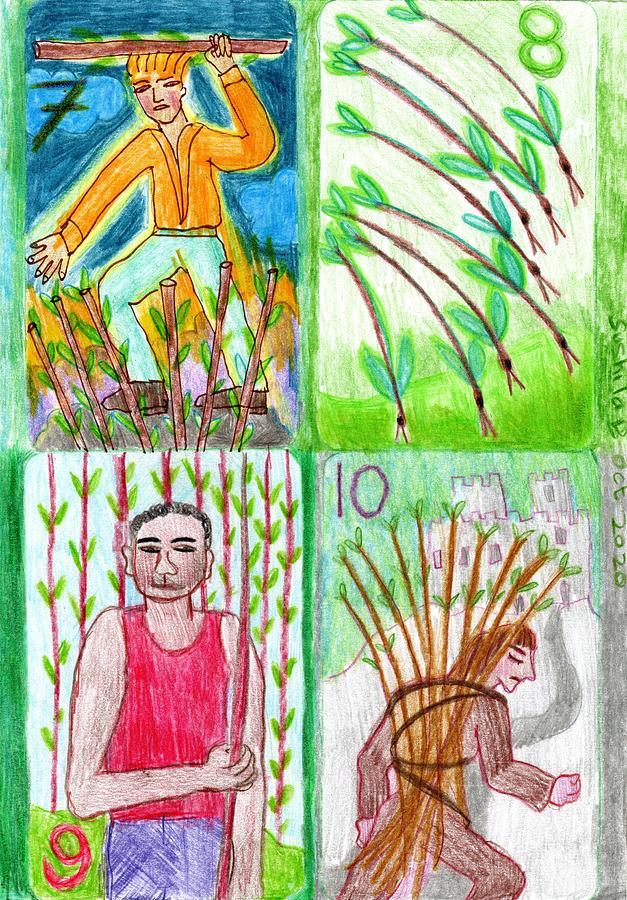 Tarot Drawing - The Glowing Tarot Wands 7 to 10 by Sushila Burgess