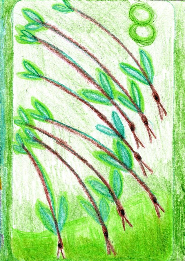 Tarot Drawing - The Glowing Tarot Wands 8 by Sushila Burgess