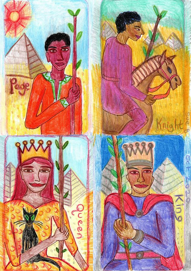 Tarot Drawing - The Glowing Tarot Wands Court Cards by Sushila Burgess