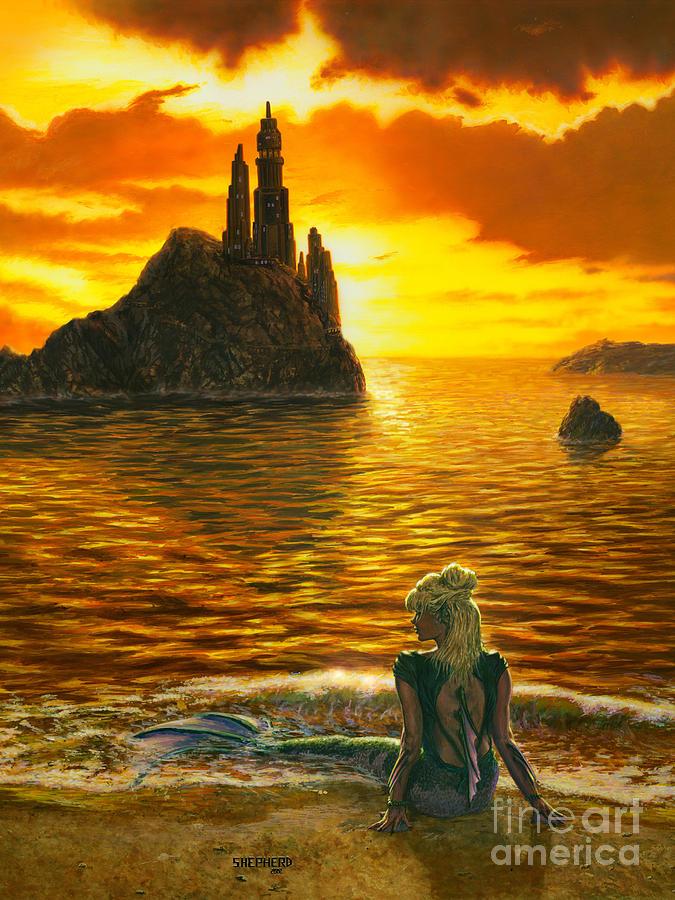 Mermaid Painting - The Golden Girl by Stu Shepherd