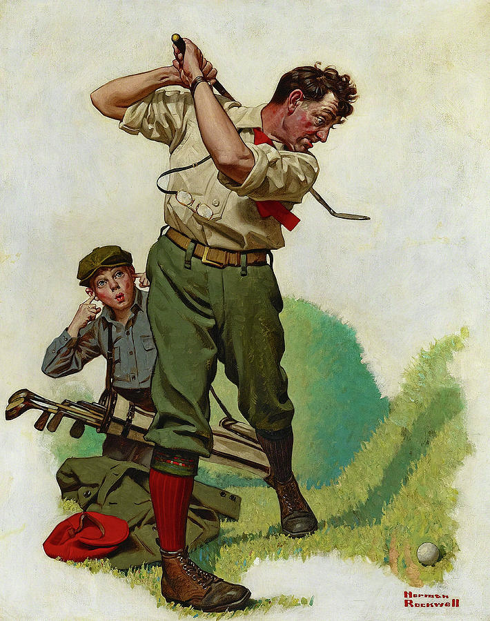 Norman Rockwell Painting - The Golfer, 1920 by Norman Rockwell