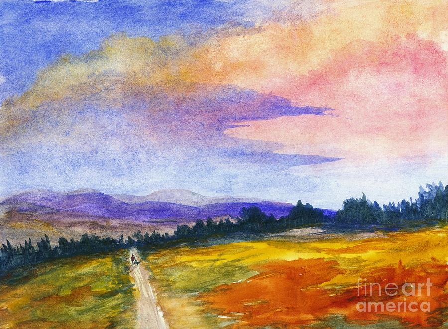 The Good Life Painting - The Good Life Watercolor Landscape Painting by Itaya Lightbourne