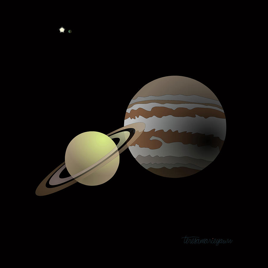 Great Digital Art - The Great Conjunction of Jupiter and Saturn by Teresamarie Yawn