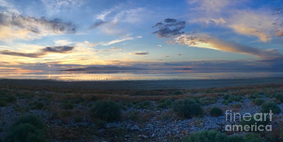 Great Salt Lake Photograph - The Great Salt Lake sunset panorama by Dejan Jovanovic
