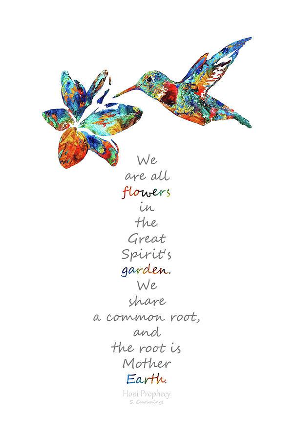 Hummingbird Painting - The Great Spirits Garden - Native American Art - Sharon Cummings by Sharon Cummings