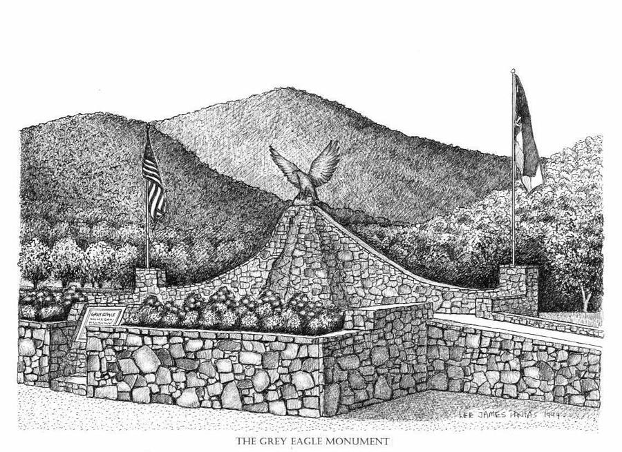 Black Mountain Drawing - The Grey Eagle Monument in Black Mountain by Lee Pantas