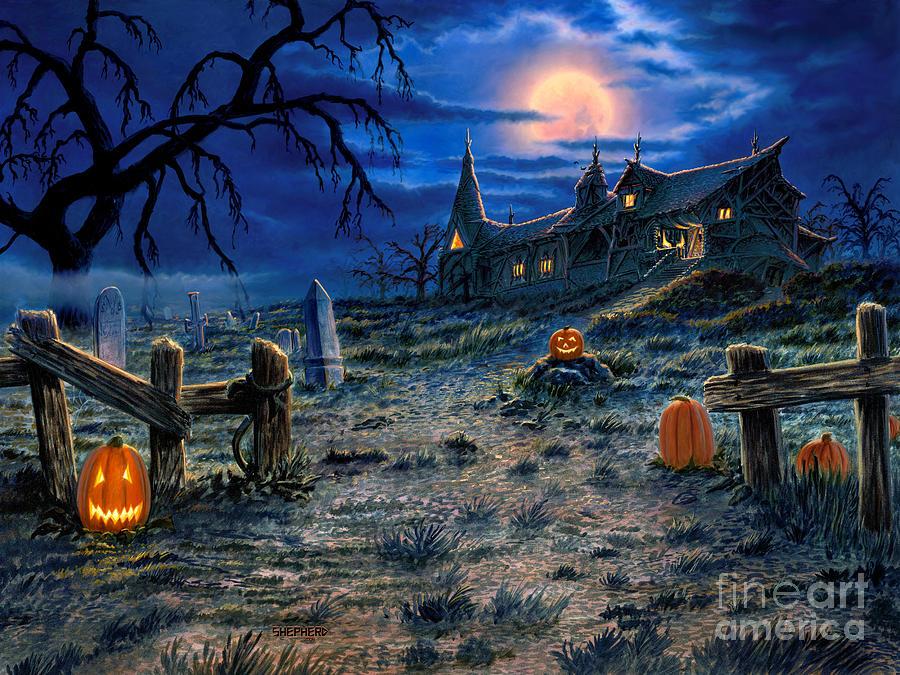 Halloween Painting - The Haunted House by Stu Shepherd