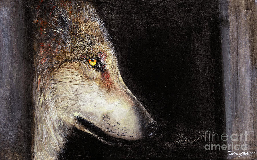 Wolf Painting - The Hidden by Kevin Scott Jacobs