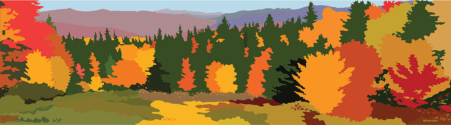 Autumn Digital Art - The Hills Are Alive by Marian Federspiel