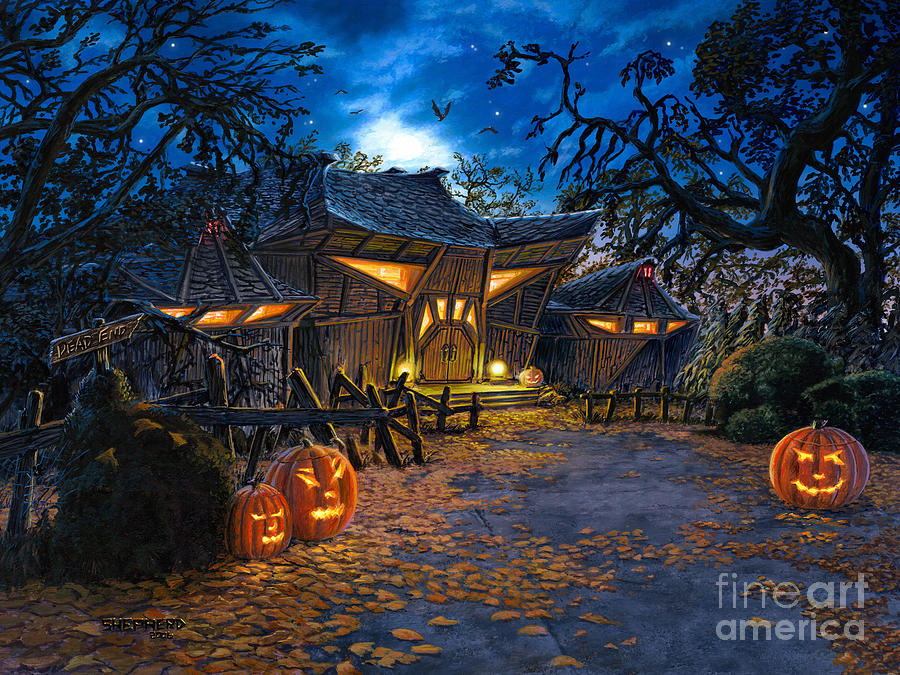 Haunted House Painting - The House At Dead End by Stu Shepherd