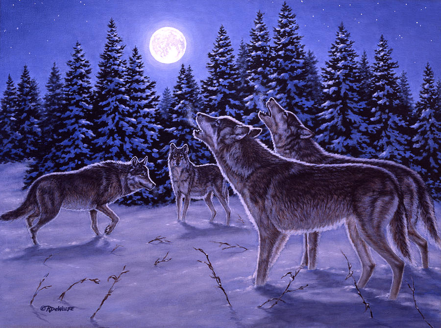 Wolf Painting - The Howling by Richard De Wolfe