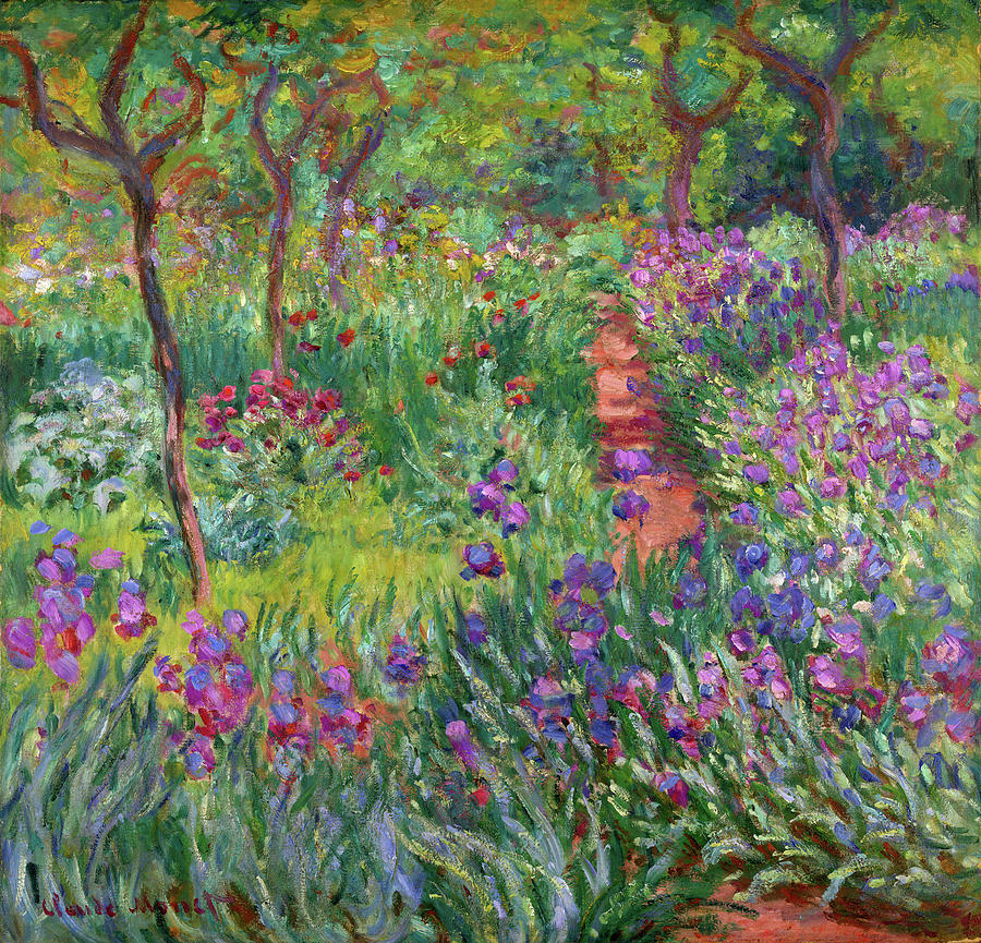Iris Garden At Giverny Painting