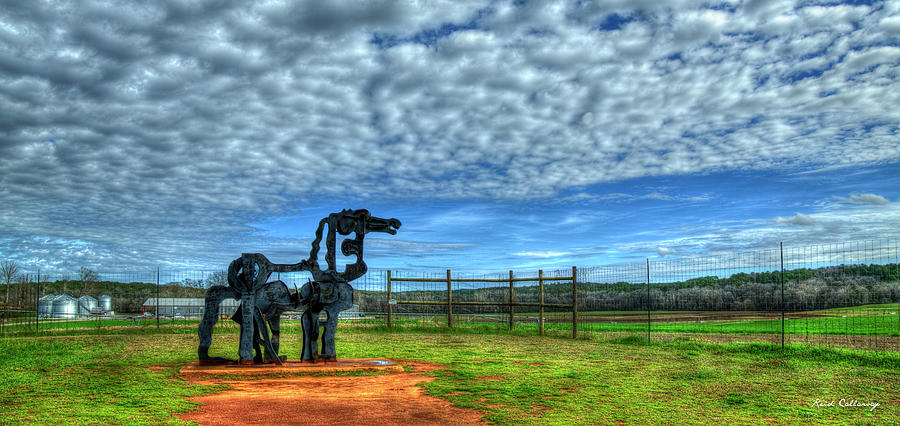 Oconee River Photograph - The Iron Horse Farm Panorama University Of Georgia Agricultural Landscape Sculpture Art by Reid Callaway