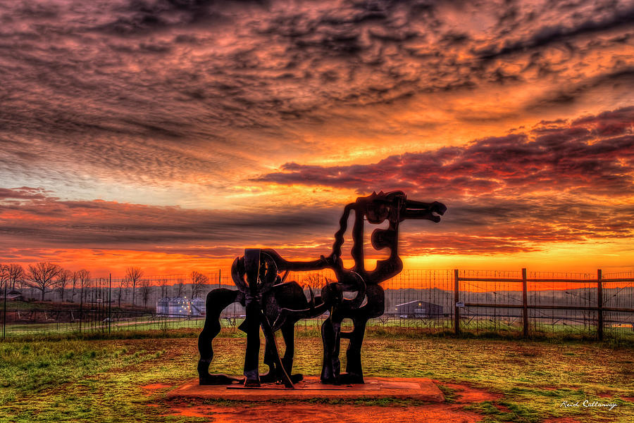 Oconee River Photograph - The Iron Horse Sunup 7 Uga Iron Horse Farm Agricultural Landscape Sculpture Art by Reid Callaway