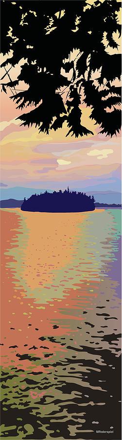 Lake Painting - The Island II by Marian Federspiel