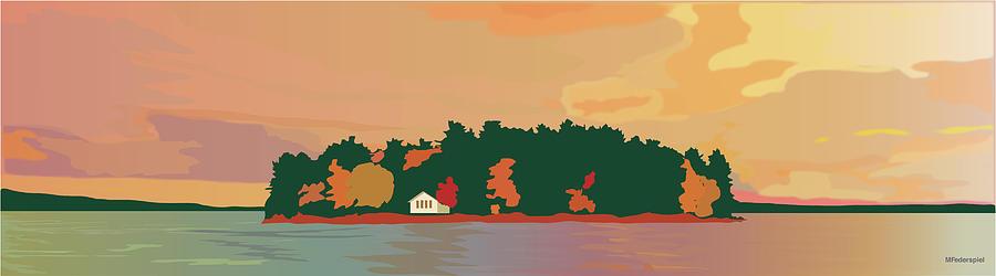 Island Digital Art - The Island by Marian Federspiel