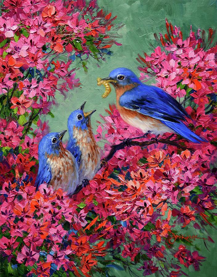 Bluebirds Painting - The Joy of Spring by Mikki Senkarik