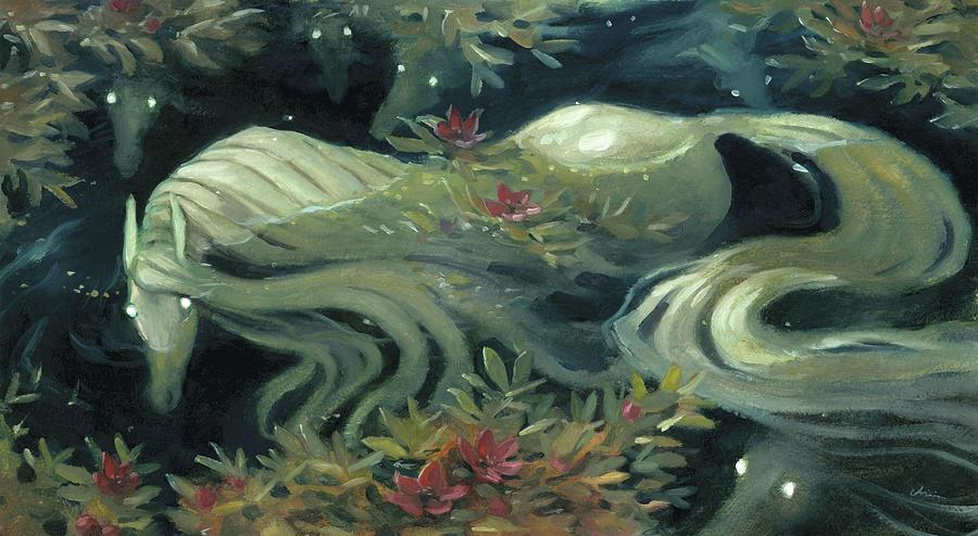 Kelpies Painting - The Kelpie Pond by Jaimie Whitbread