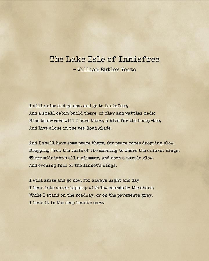 The Lake Isle Of Innisfree - William Butler Yeats - Typewriter Print On Antique Paper 1 - Literature Digital Art