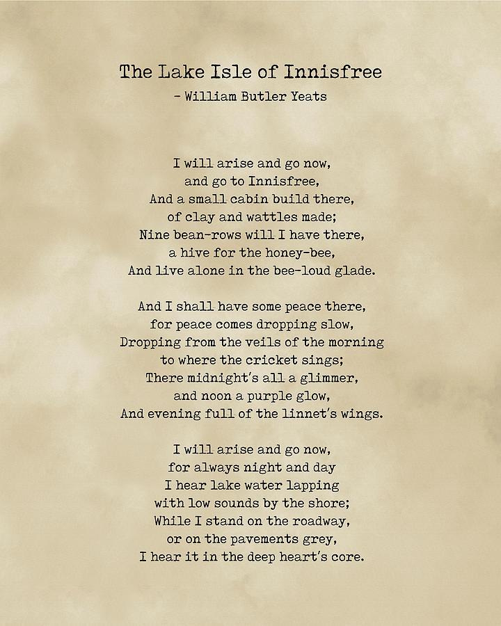 The Lake Isle Of Innisfree - William Butler Yeats - Typewriter Print On Antique Paper 2 - Literature Digital Art