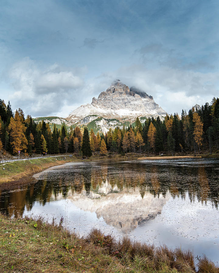 The Lake Of Lago Di Antorno With Tre Cime Di Lavadero Mountain Reflection In Autumn. Forest Landscape Italy Photograph
