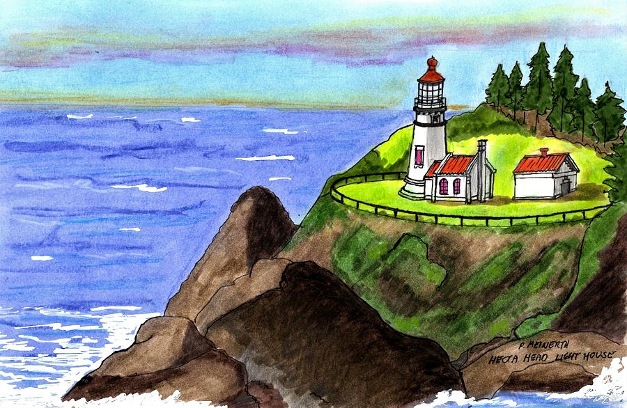 The Lighthouse At Heceta Head Drawing