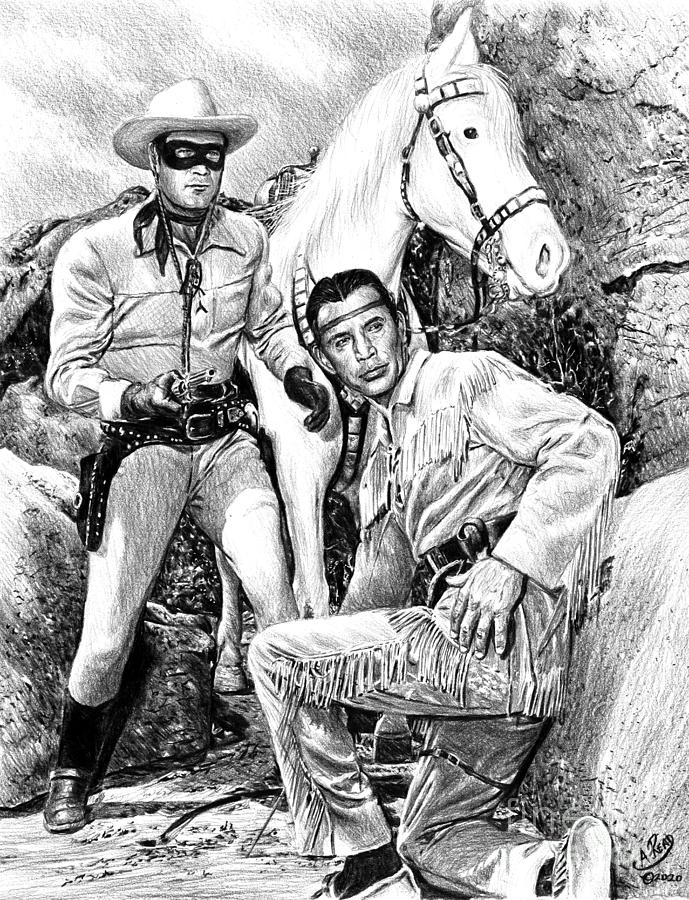 The Lone Ranger B W Drawing