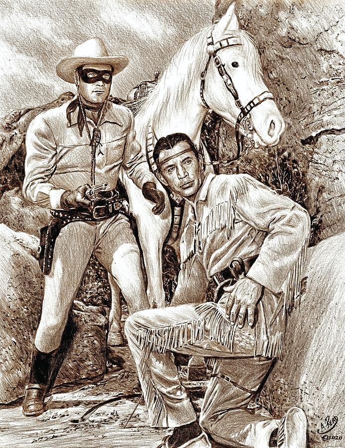 The Lone Ranger Sepia Drawing