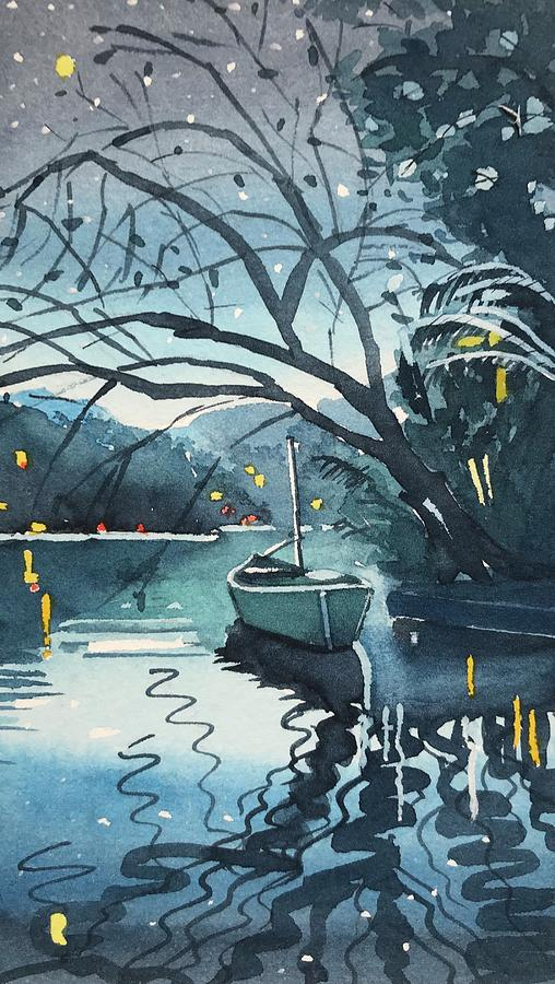 The Lonely Canoe At Night. Painting