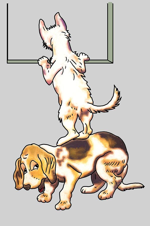 Puppy Digital Art - The Lookouts by John Haldane