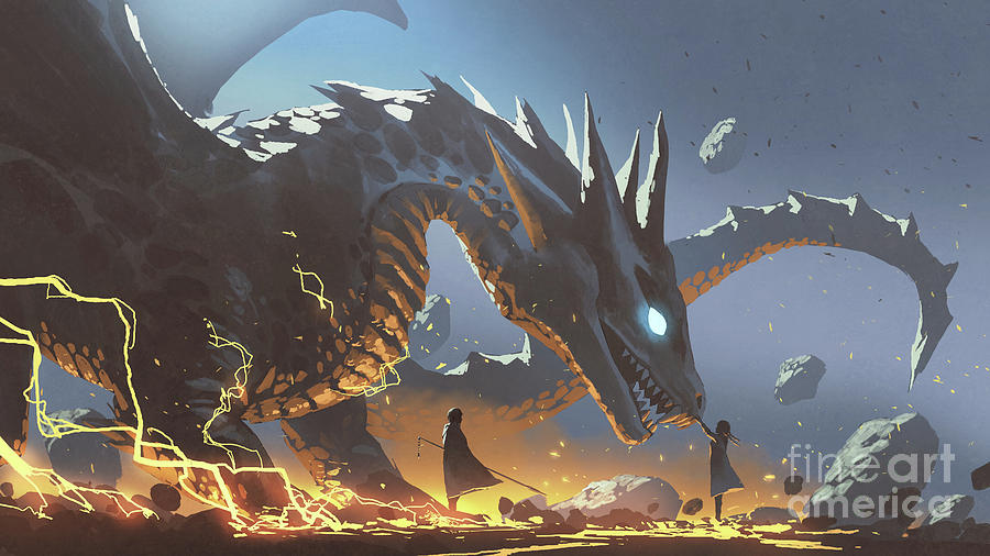 The Lord And The Faithful Dragon Painting
