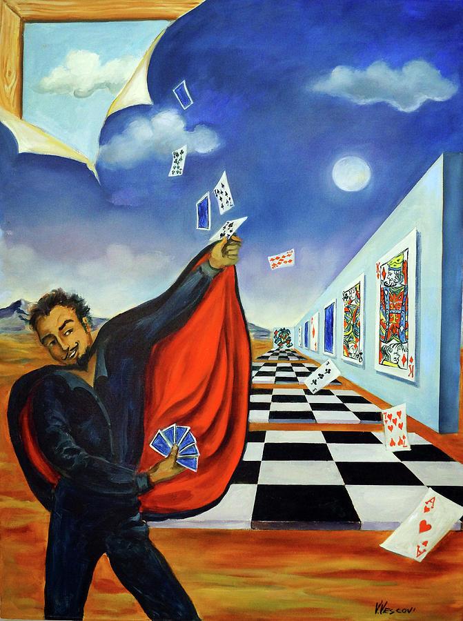 Surreal Landscape Painting - The Magician by Valerie Vescovi