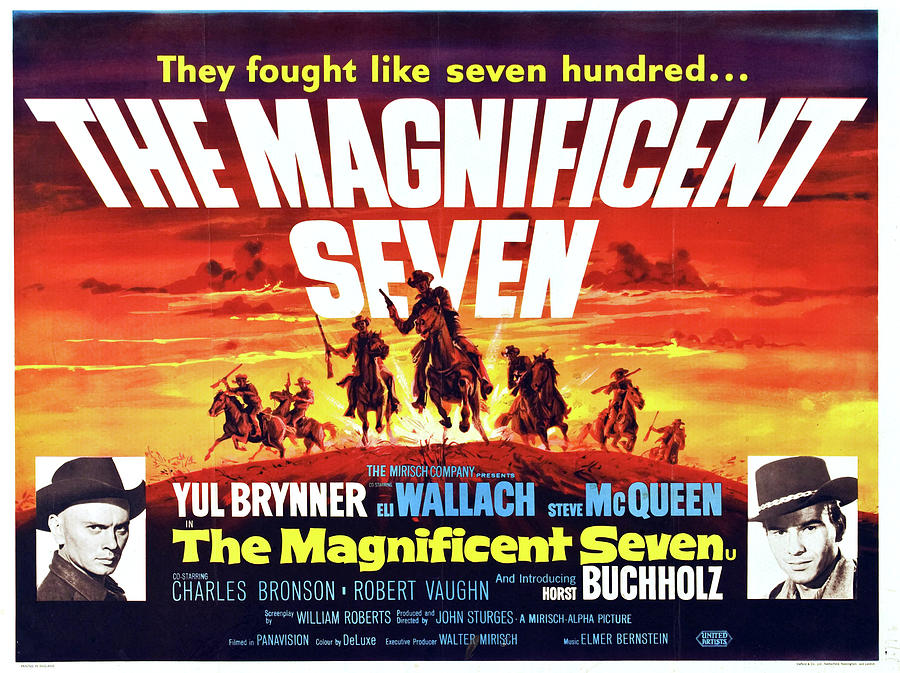 the Magnificent Seven With Yul Brynner And Eli Wallach, 1960 Mixed Media