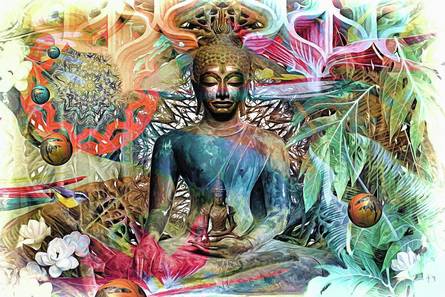 The Mandala Forest Buddha Digital Art